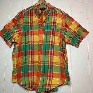 Ralph Lauren Shirts - Ralph Lauren Orange Madras Plaid Short Sleeve